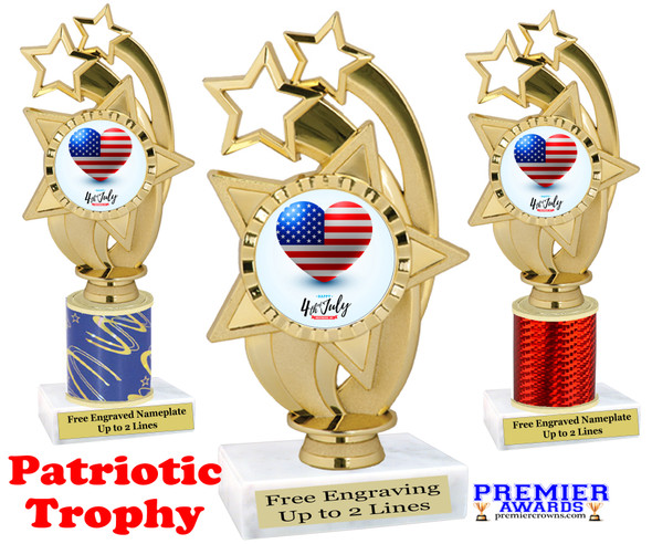 Patriotic theme trophy. Great trophy for all of your patriotic themed events!  (ph55