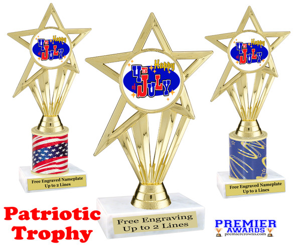 Patriotic theme trophy. Great trophy for all of your patriotic themed events!  (ph30