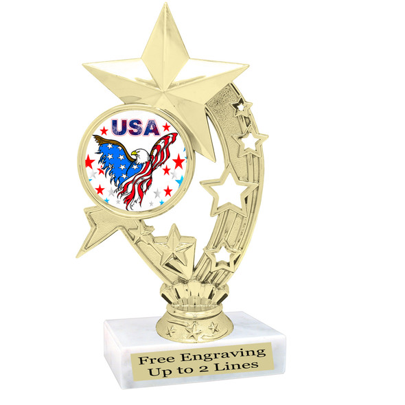 Patriotic theme trophy. Great trophy for all of your patriotic themed events!  (h208