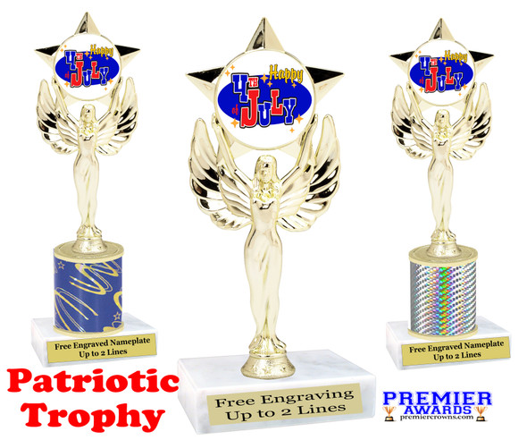 Patriotic theme trophy. Great trophy for all of your patriotic themed events!  (7517