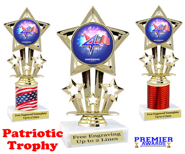 Patriotic theme trophy. Great trophy for all of your patriotic themed events!  (767