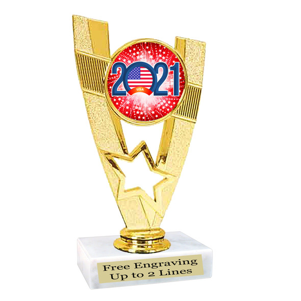 Patriotic theme trophy. Great trophy for all of your patriotic themed events!  (90786