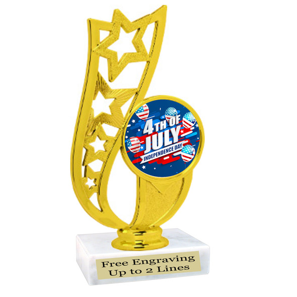 Patriotic theme trophy. Great trophy for all of your patriotic themed events!  (92226