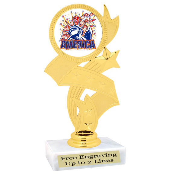 Patriotic theme trophy. Great trophy for all of your patriotic themed events!  (92766
