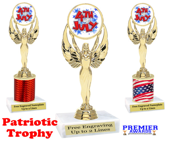 Patriotic theme trophy. Great trophy for all of your patriotic themed events!  (80087