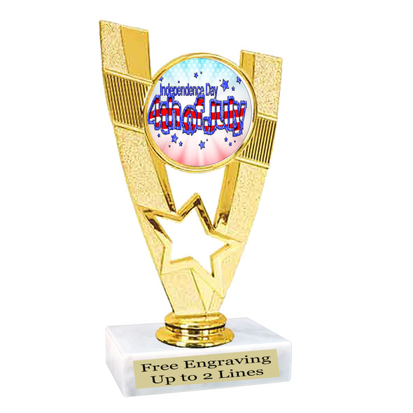 Patriotic theme trophy. Great trophy for all of your patriotic themed events!  (90786-2