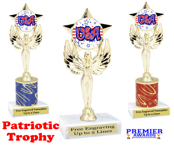 Patriotic theme trophy. Great trophy for all of your patriotic themed events!  (7517-2