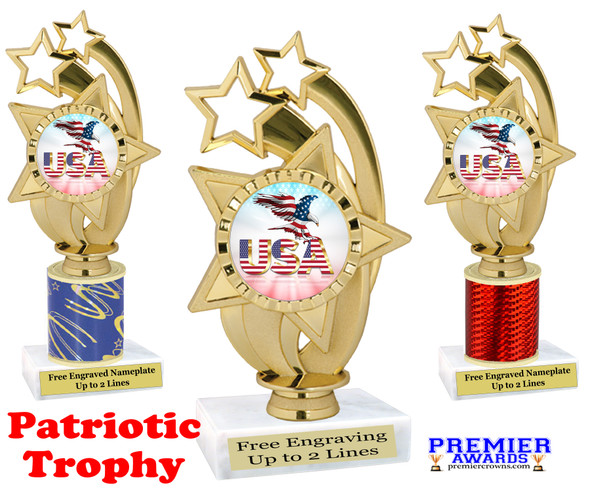 Patriotic theme trophy. Great trophy for all of your patriotic themed events!  (ph55-2