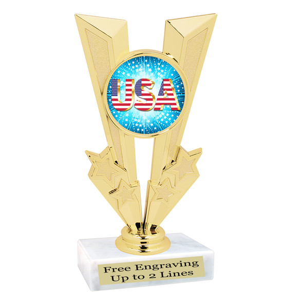 Patriotic theme trophy. Great trophy for all of your patriotic themed events!  (92746-2