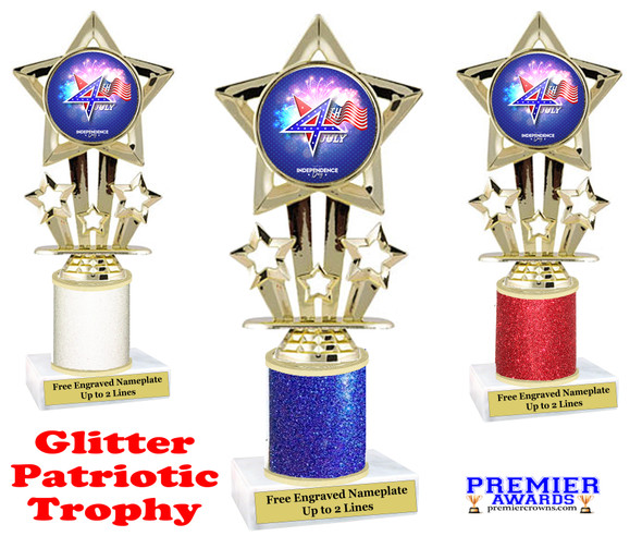 Glitter Patriotic theme trophy. Great trophy for all of your patriotic themed events!  (767