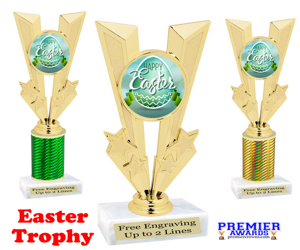 Easter theme trophy.  Great award for your pageants, Easter Egg Hunts, contests, competitions and more.  92746