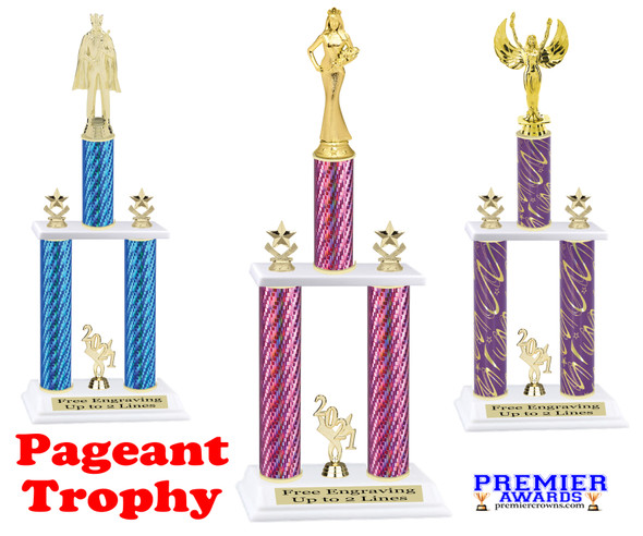 Pageant theme  2 Column Trophy - Available in multiple heights, column colors and choice of figure.  Trophy height starts at 14 inches.
