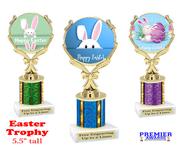 """Easter theme trophy.  5.5"""" tall Great award for your pageants, Easter Egg Hunts, contests, competitions and more."""
