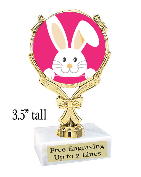 """Easter theme trophy.  3.5"""" tall Great award for your pageants, Easter Egg Hunts, contests, competitions and more."""