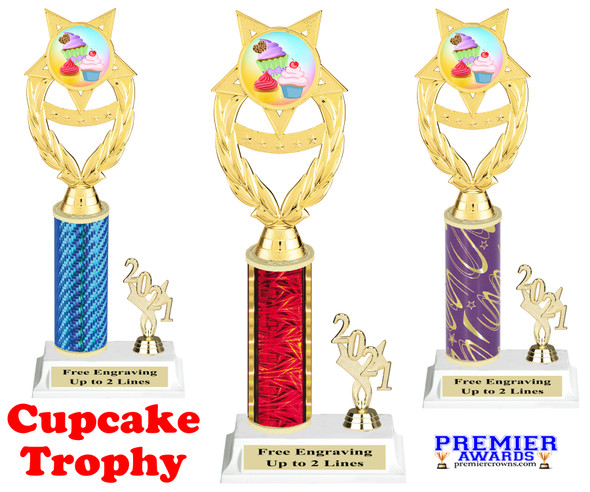 Cupcake trophy with current year on side.  Great for your pageants, events, contests, schools and more.