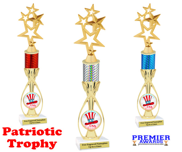 """Patriotic theme trophy.  14"""" tall Great trophy for all of your patriotic themed events!  (4115"""