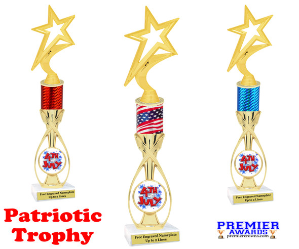 """Patriotic theme trophy.  14"""" tall Great trophy for all of your patriotic themed events!  (5000"""