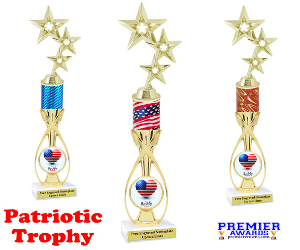 """Patriotic theme trophy.  14"""" tall Great trophy for all of your patriotic themed events!  (5061"""