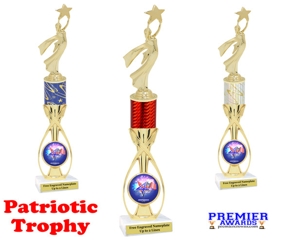 """Patriotic theme trophy.  14"""" tall Great trophy for all of your patriotic themed events!  (5087g"""