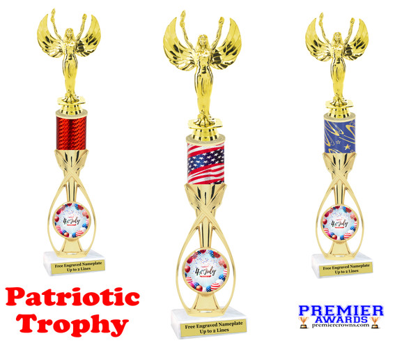 """Patriotic theme trophy.  14"""" tall Great trophy for all of your patriotic themed events!  (7513"""