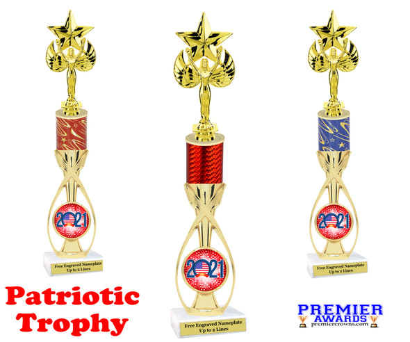 """Patriotic theme trophy.  14"""" tall Great trophy for all of your patriotic themed events!  (7516"""