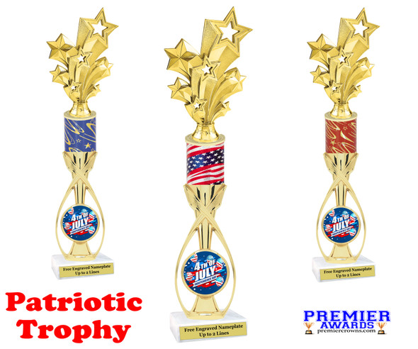 """Patriotic theme trophy.  14"""" tall Great trophy for all of your patriotic themed events!  (9707"""