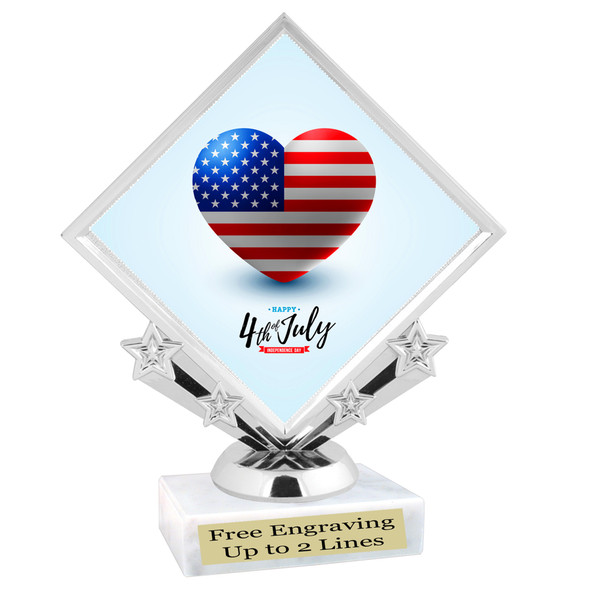 Patriotic theme trophy. Great trophy for all of your patriotic themed events!  (5097-1