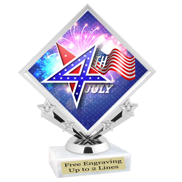 Patriotic theme trophy. Great trophy for all of your patriotic themed events!  (5097-2