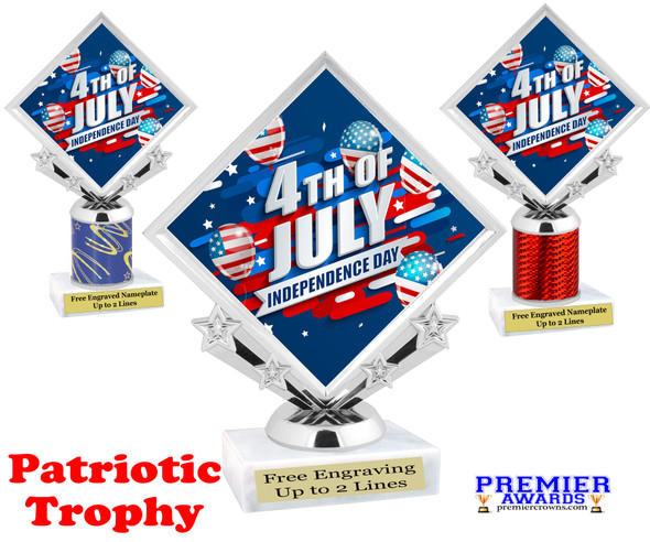 Patriotic theme trophy. Great trophy for all of your patriotic themed events!  (5097-3