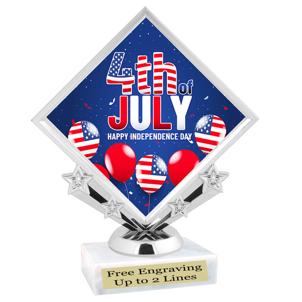 Patriotic theme trophy. Great trophy for all of your patriotic themed events!  (5097-4