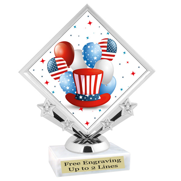 Patriotic theme trophy. Great trophy for all of your patriotic themed events!  (5097-5