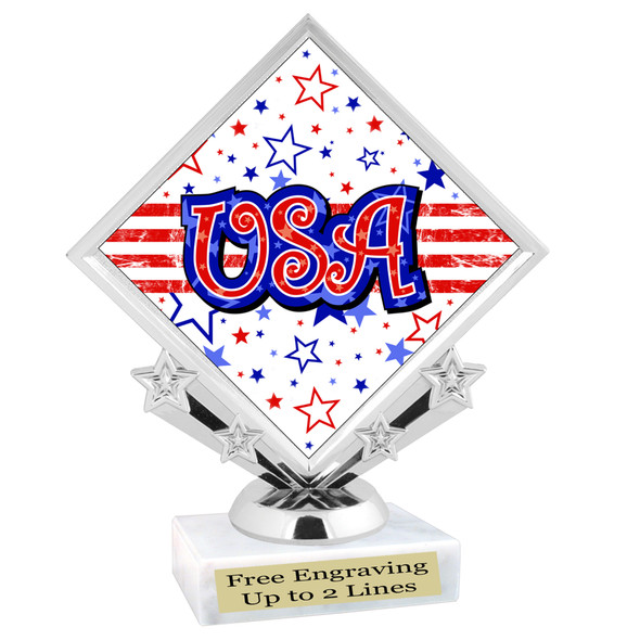 Patriotic theme trophy. Great trophy for all of your patriotic themed events!  (5097-6