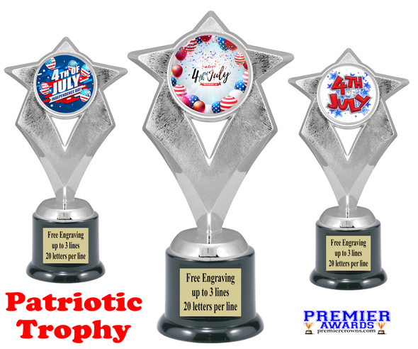 Patriotic theme trophy. Great trophy for all of your patriotic themed events!  5086