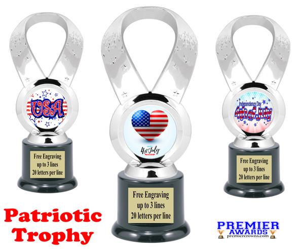 Patriotic theme trophy. Great trophy for all of your patriotic themed events!  5093