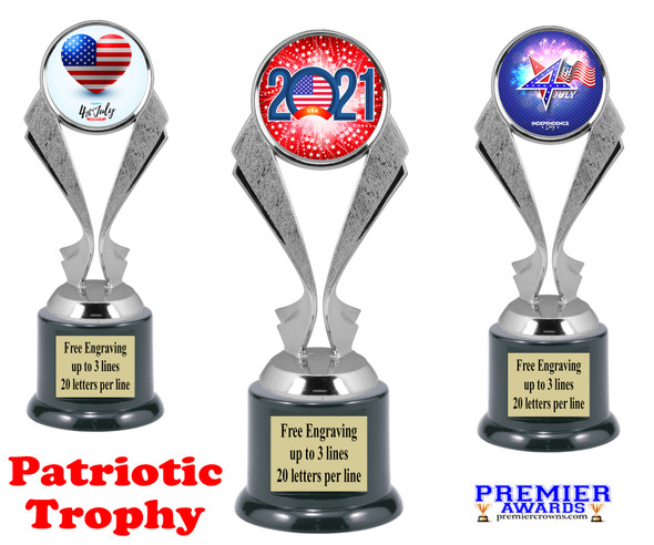 Patriotic theme trophy. Great trophy for all of your patriotic themed events!  5096