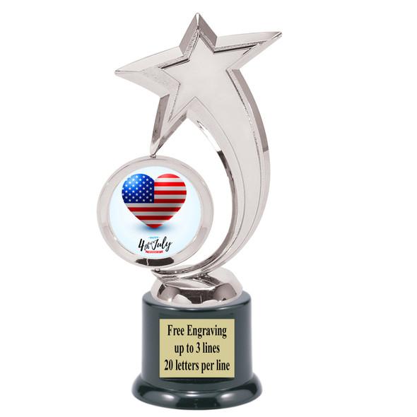 Patriotic theme trophy. Great trophy for all of your patriotic themed events!  6061