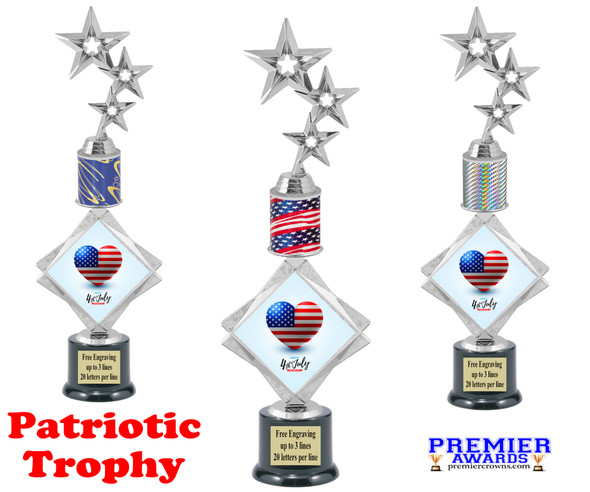 """Patriotic theme trophy. 16"""" tall Great trophy for all of your patriotic themed events!  001"""