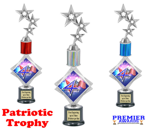 """Patriotic theme trophy. 16"""" tall Great trophy for all of your patriotic themed events!  002"""