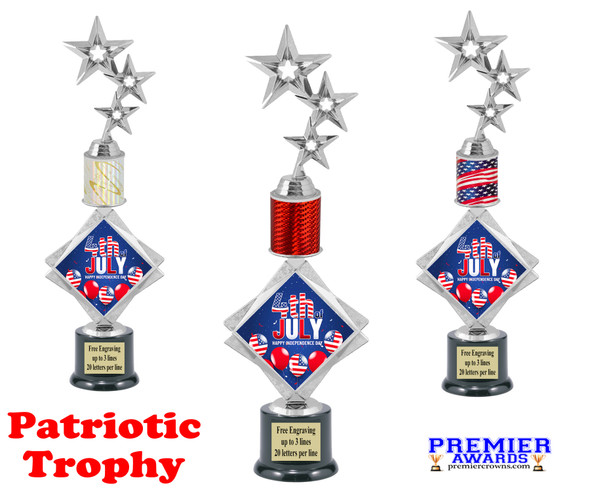 """Patriotic theme trophy. 16"""" tall Great trophy for all of your patriotic themed events!  004"""