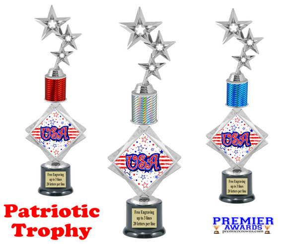 """Patriotic theme trophy. 16"""" tall Great trophy for all of your patriotic themed events!  006"""