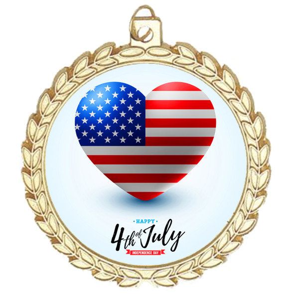 """Patriotic Medal with choice of artwork.  Gold  2 3/4"""" medal includes free neck ribbon.  M70 G"""