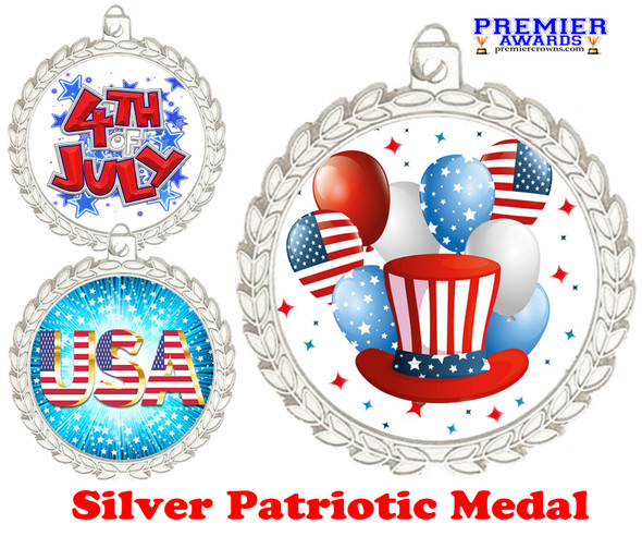 """Patriotic Medal with choice of artwork.  Silver  2 3/4"""" medal includes free neck ribbon.  M70 s"""