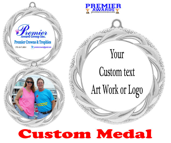 Custom medal.  Upload your logo, art work or text for a unique medal great for any event!  938S