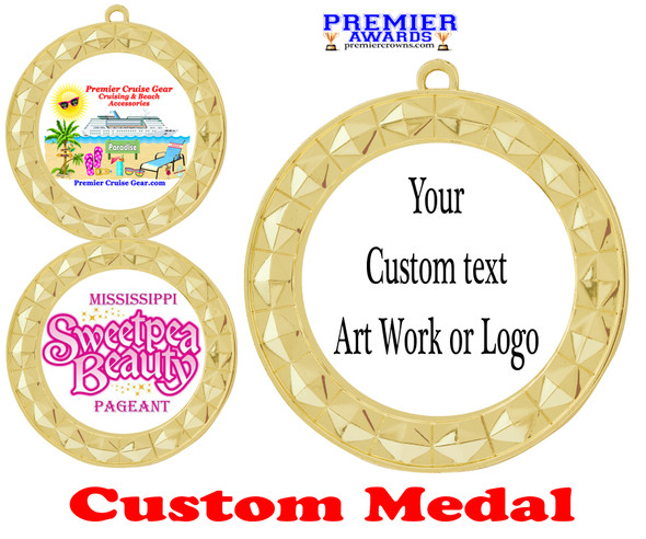 Custom medal.  Upload your logo, art work or text for a unique medal great for any event!  935G