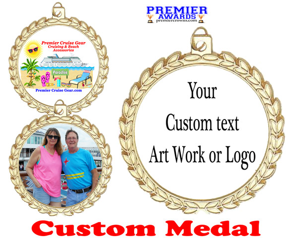 Custom medal.  Upload your logo, art work or text for a unique medal great for any event!  m70g