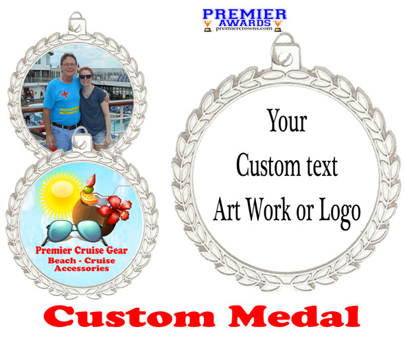 Custom medal.  Upload your logo, art work or text for a unique medal great for any event!  m70s