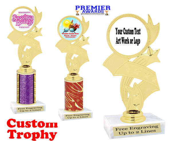 Custom Trophy.  Add your logo, custom art work or text for a unique trophy which is great for all events.