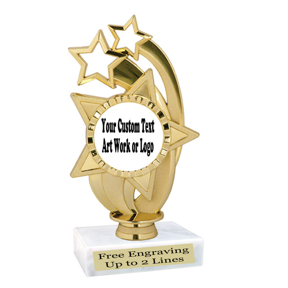 Custom Trophy.  Add your logo, custom art work or text for a unique trophy which is great for all events. ph55