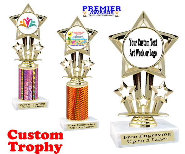 Custom Trophy.  Add your logo, custom art work or text for a unique trophy which is great for all events. 767