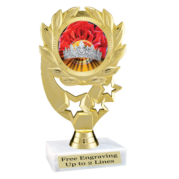 """Discontinued Clearance trophy.  Holographic Crown insert.  6"""" tall with limited quantities.  4107"""